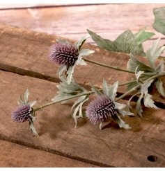 An artificial spray of purple thistles, a perfect accessory for any decorative vase or jug in the home