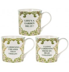 A mix of 3 humorous garden slogan mugs with gift box.