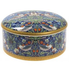 An attractive William Morris design trinket box. A lovely decoration for storing jewellery and small treasures.