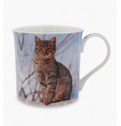 A Fine China Mug decorated with a charming Tabby Cat print