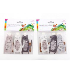 A mix of 2 wooden cat and dog slogan memo clips, each with a popular sentiment slogan.