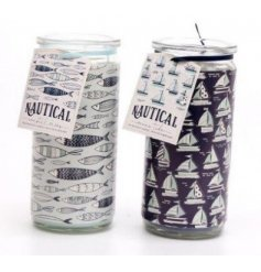 An assortment of delightfully scented wax candles with a Nautical inspired decal