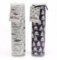 An assortment of delightfully scented wax candles with a Nautical inspired decal,