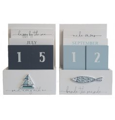 Bring a nautical inspired feel to your desk or home space with these charming blue and white toned wooden calendars