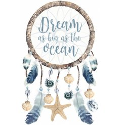 Bring a nautical inspired feel to any space of the home with this charming blue and white toned dream catcher
