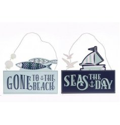 Bring a nautical inspired feel to any space of the home with these charming blue and white toned plaques