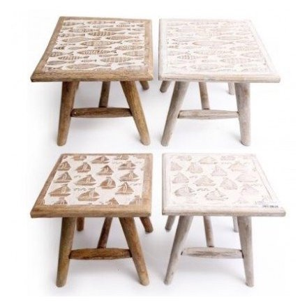Sea Life Inspired Wooden Stools