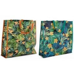 A mix of 2 beautifully coloured gold, green and blue tropical design shopping bags.