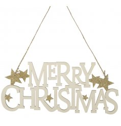 This gold glitter and cream Merry Christmas sign makes a warm welcome in the home this season.