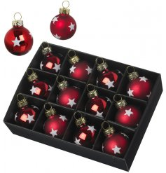 A set of 12 festive red baubles with white glitter stars. The set includes both matt and shiny designs with gold caps