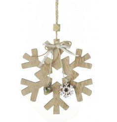 A stylish wooden snowflake decoration complete with a mini snowflake charm, silver bell and bow.