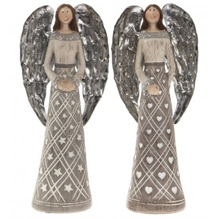 Assorted Grey Angel Figures - Small
