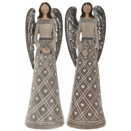 Assorted Grey Angel Figures - Medium