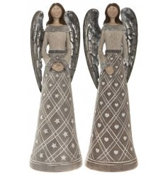 An assortment of 2 angel ornaments in star and heart designs.