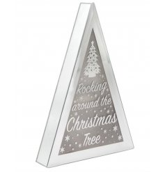 A chic silver tree shaped Christmas sign with a rocking slogan and LED lights.
