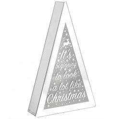 A mirrored edge LED display set with a scripted 'Its Beginning To Look A Lot Like Christmas' text