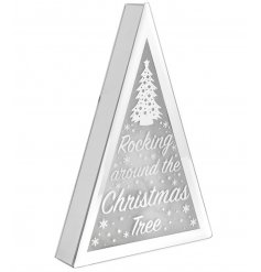 A mirrored edge LED display set with a scripted 'Rocking around the Christmas Tree'
