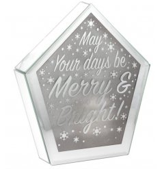 A mirrored edge LED display set with a scripted 'May your days be Merry & Bright!'