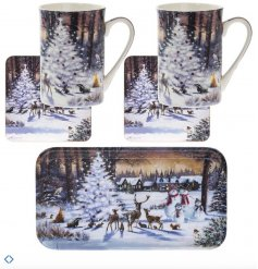 A beautifully illustrated snowy Christmas scene set including mugs, coasters and a tray.