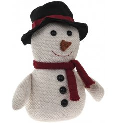 A cute snowman doorstop made with lovely textured fabric.