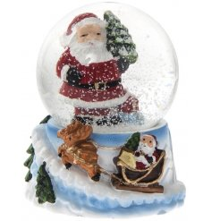 An enchanting Santa design waterball with a traditional Santa and sleigh design with reindeer.