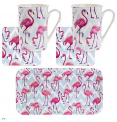 A set of 2 mugs and coasters with tray. A bold and colourful flamingo bay design gift set.