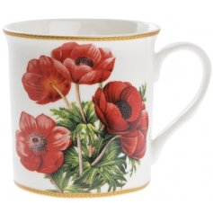 A fine quality red poppy mug with gift box.