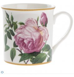 A Fine China Mug decorated with a pretty pink flower print