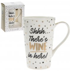 A fabulous wine slogan mug with gift box. A glamorous gift item for those who enjoy a tipple!