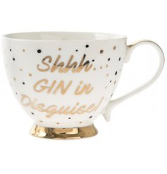 Shh..Gin in disguise. A large footed mug with a popular gin slogan.