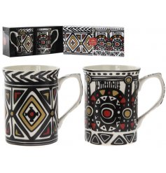 A beautifully decorated set of Fine China Mugs, complete with a matching gift box.