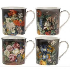 A beautiful set of 4 Fine China Mugs featuring a Vintage Flower decal