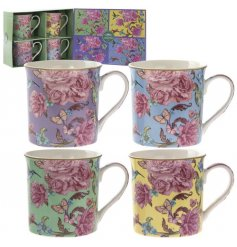 Bring a floral charm to your coffee mornings or kitchen decal with this beautiful set of Fine China Mugs