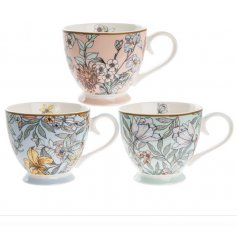 An assortment of 3 Fine China Teacups featuring assorted floral patterns and tones