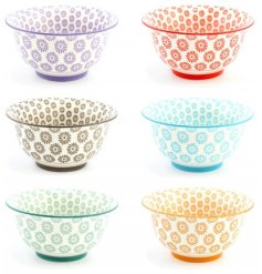 6 beautifully designed patterned bowls in a colourful tone