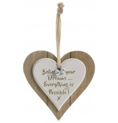 A sweetly scripted double heart plaque with an added Shabby Chic feature