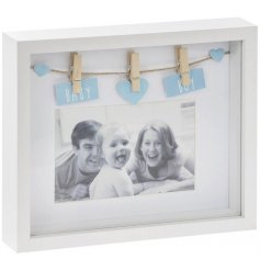 Display your most beloved photograph in this gorgeous white wooden box frame with a baby blue baby boy sign.