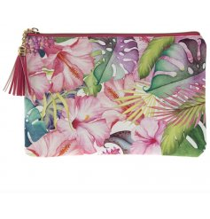 A bold and beautiful tropical paradise design clutch bag with tassel zip.