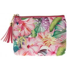 A colourful and stylish tropical design purse with tassel zip.
