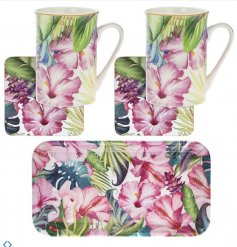 A stylish mug, coaster and tray gift set from the popular tropical paradise range.