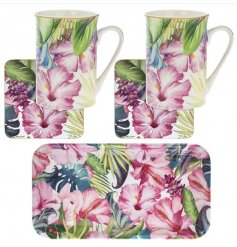 Enjoy tea for two with this bold and beautiful tropical paradise mug, coaster and tray gift set.
