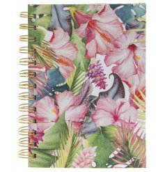 A bold and beautiful tropical paradise design notebook. A lovely gift item and stationery product.