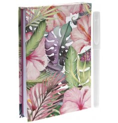 A colourful tropical design memo pad with pen. A stylish gift item with pen.