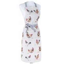 Keep your clothes protected with this charming country living chicken design apron with grey ribbon to tie.