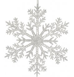 A stunning clear snowflake decoration with hanger. Ideal for window decoration and displays.