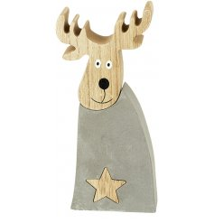A stylish cement and wooden reindeer decoration with a star detailing.