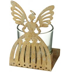 A charming single t-light holder with an antique inspired metal angel figure.