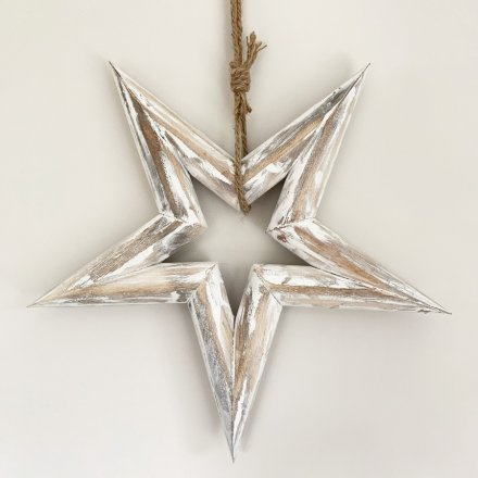 A shabby chic style wooden star with hanger. Complete with a distressed, rustic finish.