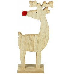 A charming wooden reindeer decoration with a red pom pom nose.