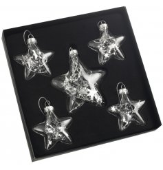 A set of 5 glass star baubles with silver star decorations encased inside. A unique and stylish ornament.